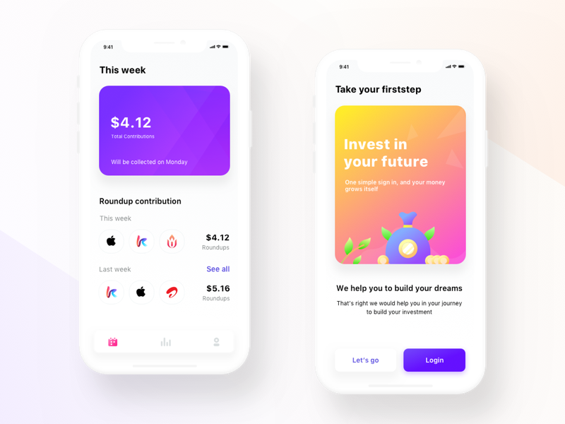 Firststep investment app mockups profile statistics cash money users signup createaccount login time ui app investment