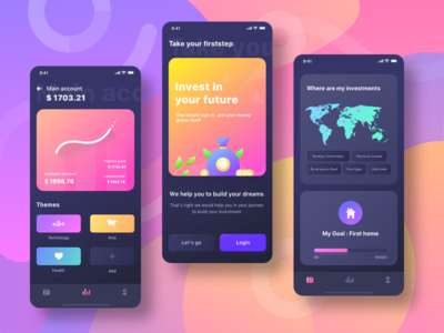 Firststep dark mode exploration create technology health home graph profile users login onboarding darkmode illustration investment