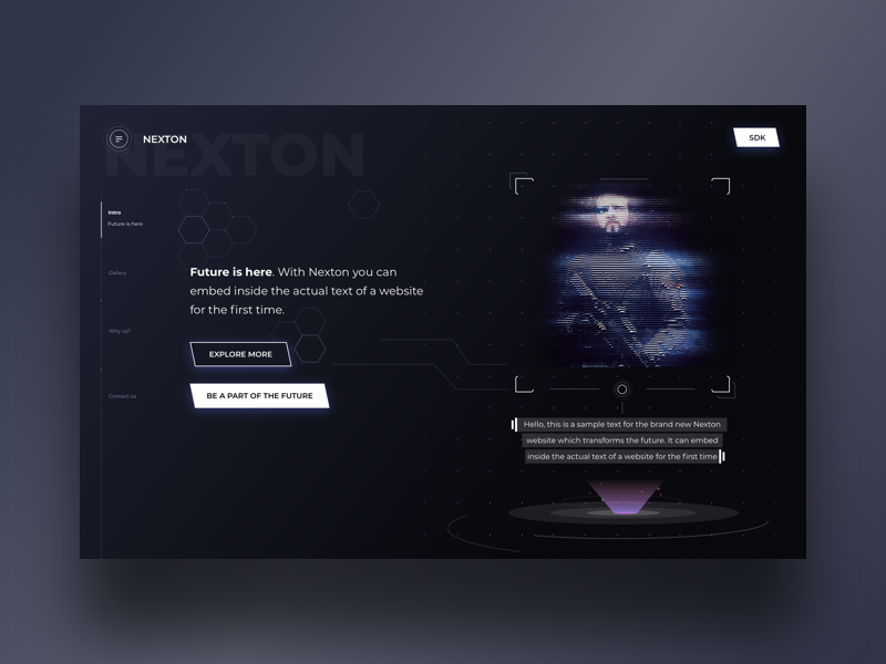 Nexton Home (Initial draft) icons sidemenu embedded text discover explore future gallery home android ios mobile web