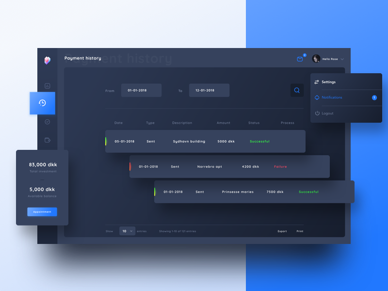 Payment history-dark mode BRICKSHARE payment schedule date messages web dailyui investment notifications settings night mode dark