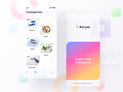 Atrum app mockups (Login+categories) location based createaccount signup login mountain book lake food beach instagram gps location