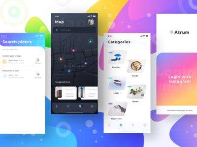 Atrum all screens (mockups) explore minimal ui instagram login cloudy rain search bar profile gps maps category