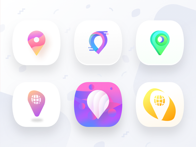 Atrum app icons proposal homepointfinder navigation gradient icon app 3d gps spot world waves gradient pin map