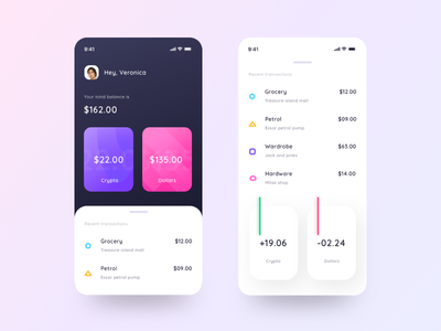 Cryptocurrency app mockup down up app money app web ui loss profit fund sell buy withdaw transactions profile cash money dollars crypto currency crypto