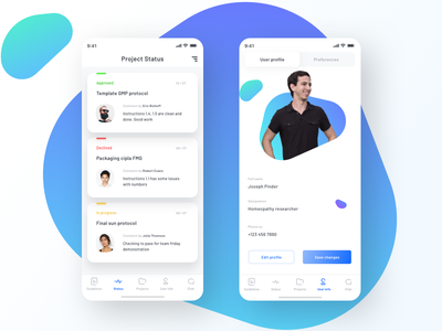 Project status + User profile mobile ios ui reject approve settings preferences chat status pic photoshop neel prakhar profile user pharmacy pharma product project project-management