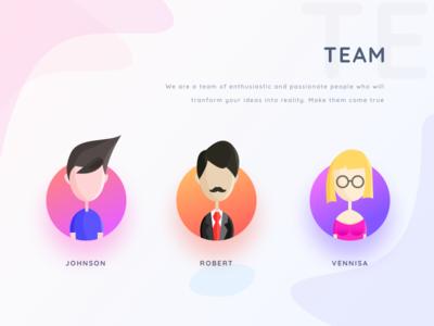 Team section name teams gradient minimal ux uidesign app 2019 website web team building profile female male people user section neel prakhar team