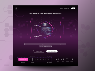 Hologram related website mockup
