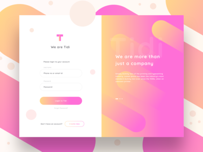 Tidi login mockup share search ui form builder video animation video app dashboard create startup website services format mp4 enter signup create account create login sharma neel prakhar embed video