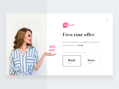 First Time User Offer modal skin beauty logo health popup spa hair care hair makeup tips style lifestyle fashion beauty sharma neel prakhar notification newsletter web ui