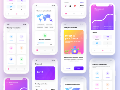 Firststep all screens transport graph graphic onboarding transaction schedule calendar home map invest share spending security neel sharma prakhar ui android ios app investment
