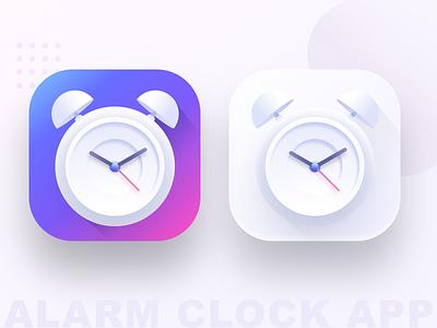 Alarm clock app icons wakeup iosandroid watch design web ui icon gradient icon alarm app white gradient minimal sharma neel prakhar watch bell alarm clock alarm