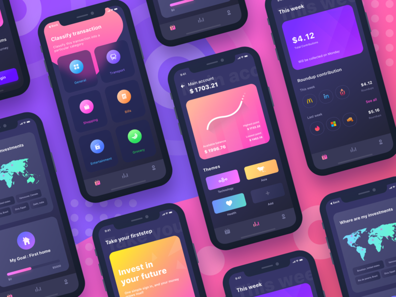 Firststep all screens cash chat share profile app android app ui ux design uidesign sharma neel prakhar mode night dark ui inspiration android ios investment invest