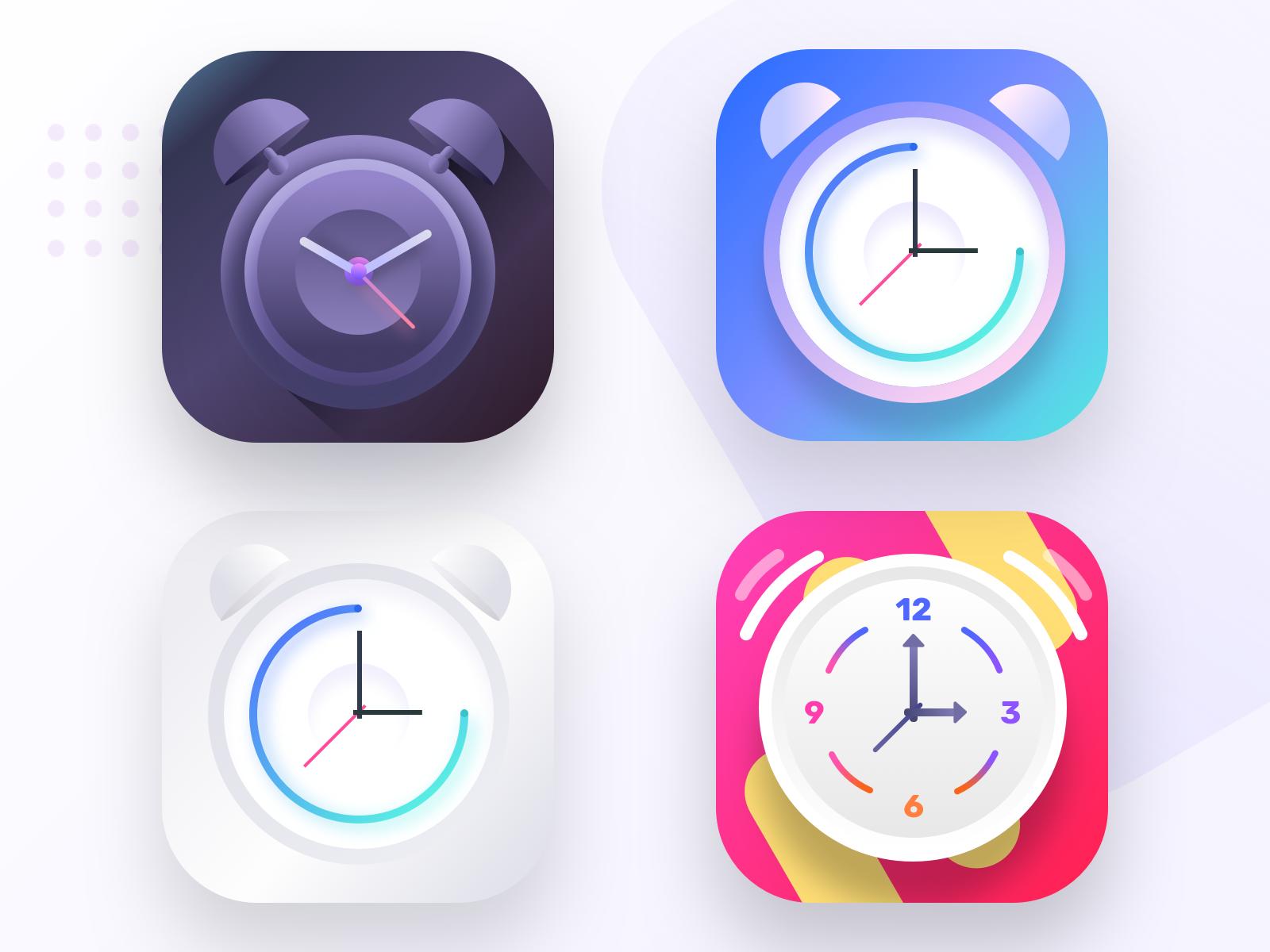 Alarm clock app icons part 2 by Prakhar Neel Sharma