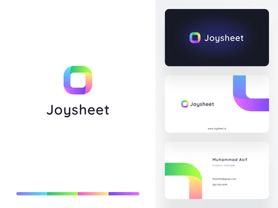 Joysheet branding WIP typography vector design logo share gradient minimal business agency letterhead newsletter ui ux design sharma neel prakhar printing graphic ui card business branding
