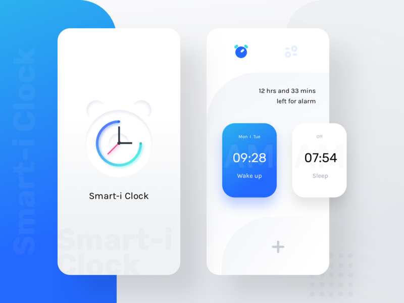 Smart-i Clock splash colors blue illustration month week everyday time analogue digital watch sharma neel prakhar uidesign ux ui app clock alarm