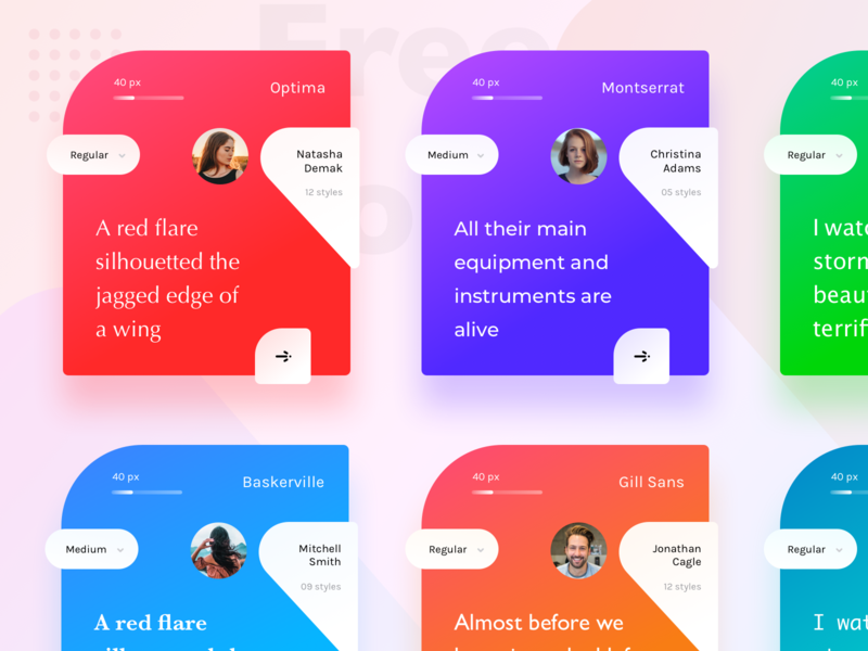 Fonts cards colors name size photo pic profile user design ui  ux design website builder sharma neel prakhar technlogy typography design website web typography typo fonts