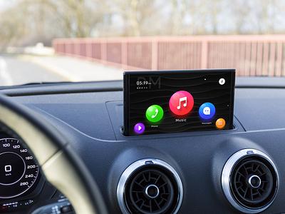 Carplay element3d audi ui dashboard dark battery time menu music design ux sharma neel prakhar element interface apple design ui play car apple