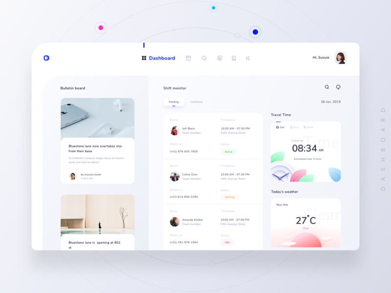 Dashboard for schedule and monitoring platform (version 4) neel prakhar time travel weather newyork logo notifications search calendar userprofile sunrise clock watch add news uidesign ui  ux design ui dashboard