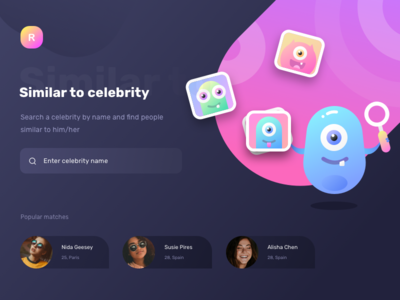 Search by photo/text similar to celebrity (WIP) peoples collage sharma neel prakhar illustration heart icon heart like match profile people ui  ux design search night dark website web ui celebrity