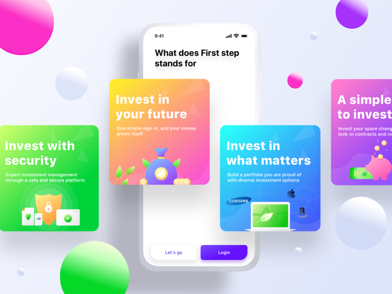 Firststep onboarding pig savings investment security onboarding illustration sharma neel prakhar windows android ios scroll gradient balls createaccount signup login card cards onboarding