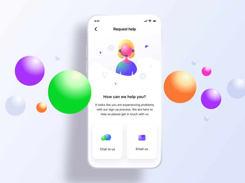Firststep request help page login help bubbles chat settings iphone6789x10 sharma neel prakhar mockup design ui  ux ui us contact email createaccount signup requesthelp iphone mockup