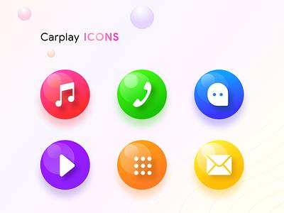 Carplay icons carplay ios android os car phone icons illustrations dialpad message email video stream music prakhar neel sharma bubbles share dashboard