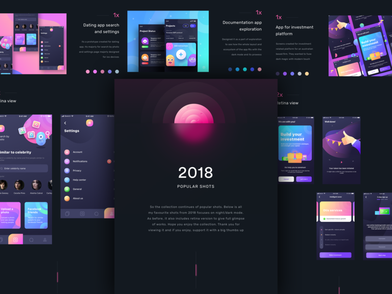 2018 popular shots dark/night mode app iphone retina illustration icons sharma neel prakhar android ios samsung apple watch mobile ux ui night mode night dark 2018