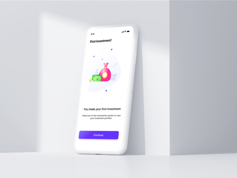 First investment screen ui web design india coins graphic statistics money cash continue button illustration sharma neel prakhar mockup design statusbar ios iphonex ui ux user ui mockup
