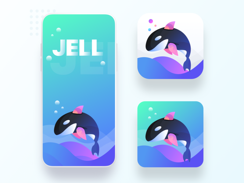 Jell app icon and splash screen user screen mockup iphone app dolphin waves underwater sea water gradient illustration sharma neel prakhar screen design ui ux user ui splash screen splash icon app