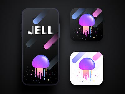 Jell app icon and splash screen II light apple iphonex ios sharma neel prakhar black dark jelly fish jelly sea illustration icon app splash screen splash website ux ui