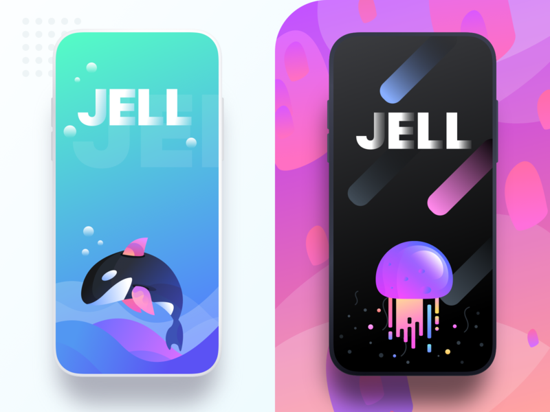 JELL splash screens sharma neel prakhar pattern jelly fish jelly sea night mode night icon a day black  white black experience user interface website ui  ux design ui icon app concept