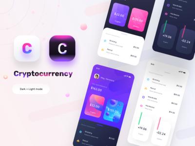 Cryptocurrency app mocks (Dark+light)