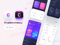 Cryptocurrency app mocks (Dark+light)