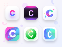 Cryptocurrency app icons prototypes