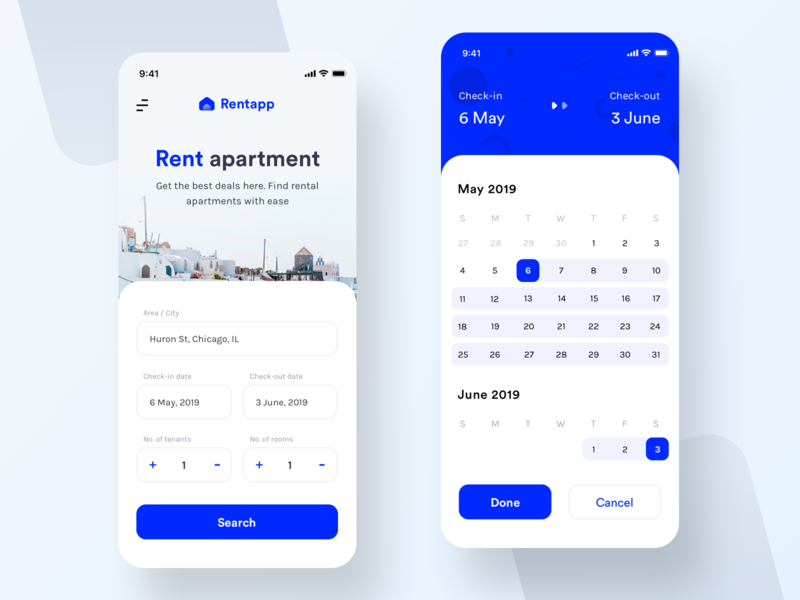 App for rent apartment (Design test assignment) rent flat apartment building place buildings web uiux prakhar neel sharma date calendar checkin checkout area city tenants rental search