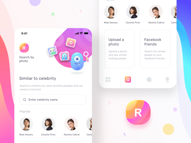 Dating app search by photo and settings (updated) iphone ios apple users sharma neel prakhar facebook friends celebrity user interface upload message icon illustration search uiux application ui dating application
