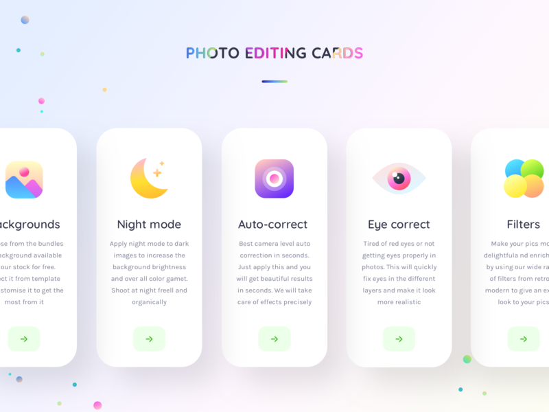 Photo editing feature cards (expanded)