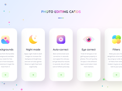 Photo editing feature cards (expanded) potraitenhanceframe brightness contrst color correction sharma neel prakhar eye night background auto filter camera icon uiux ui app editor photo