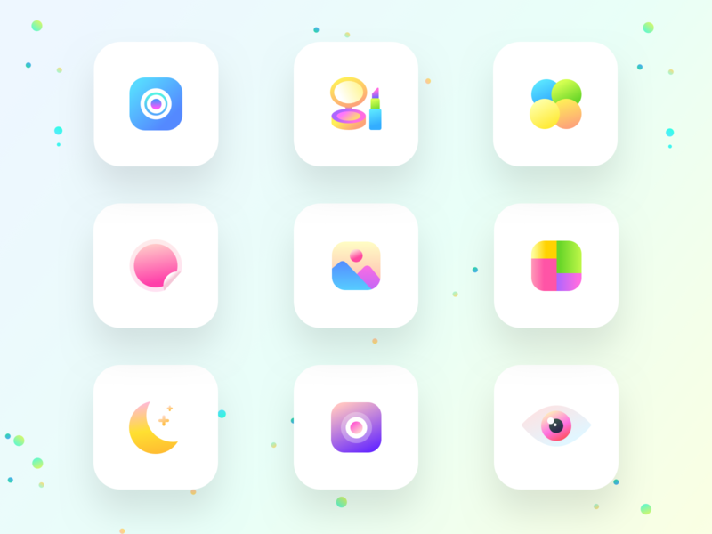 Feature cards icons of photo beautification app (source) sharma neel prakhar eyes moon night collage gallery landscape sticker paint editor photo filter camera uidesign sketchapp uiux ui sketch