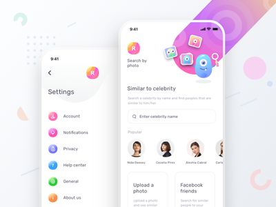 Dating app search by photo and settings: updated (source) icons notifications userprofile home tabbar application icon cute illustration sharma neel prakhar uiux application ui app design apple ios iphone love application dating