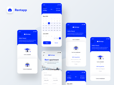 Rentapp : App for rent apartment ( Introductory screens ) rental briefcase date home sharma neel prakhar employee education student schedule calendar apple google android ios mobile screen apartment rent