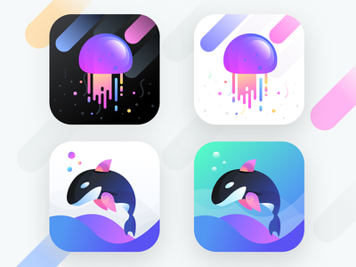 Jell app icons (Source) underwater vr ai sharma neel prakhar file source sea fish jelly whale ux android ios user interface user icons sketchapp sketch