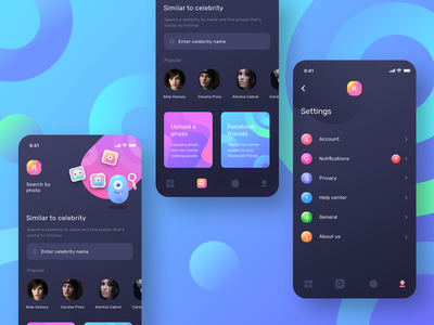 Dating app search by photo and settings: Dark mode (Source) settings love pic image profile user chat search share dating sharma neel prakhar uidesign gradient design ios13 iphone mobile interface ui