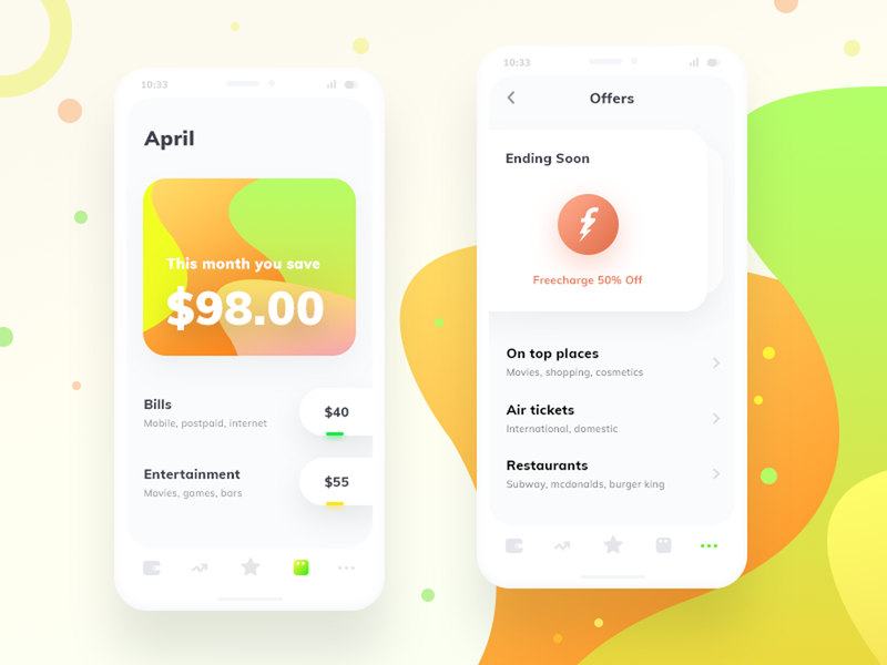 Smart expense renovated (source in psd) wallet favourite account offers bills cards freecharge sharma neel prakhar ios clay psd mockup mobile ui photoshop psd source expense smart