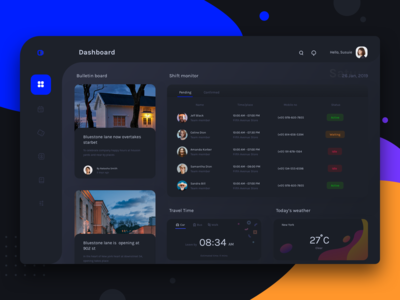 Dashboard for schedule and monitoring platform (Dark mode)