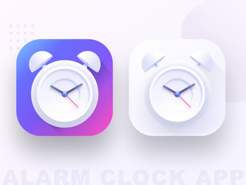 Alarm clock app icon (SOURCE) by Prakhar Neel Sharma on Dribbble