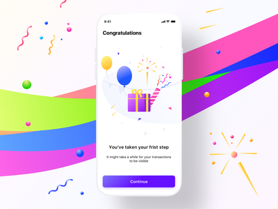Congratulations screen FirstStep android sketch mockup portfolio button balloons gradient illustration gift sharma neel prakhar investment uidesign uiux ui iphone ios modal popup