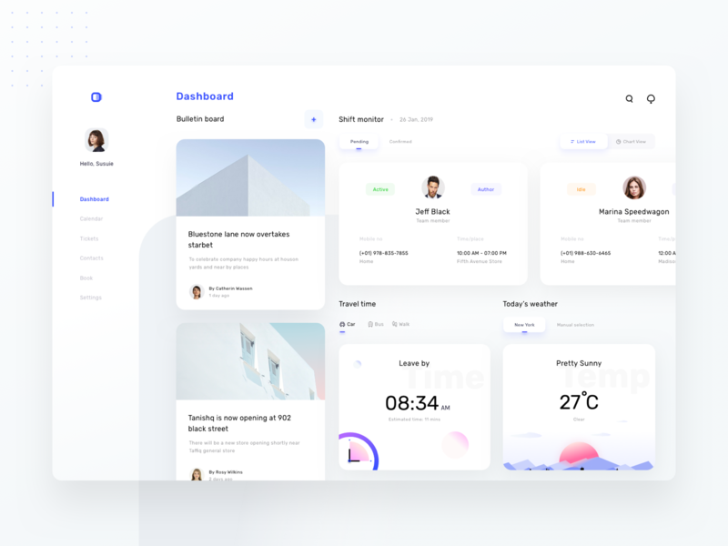 Dashboard for schedule and monitoring platform (version 6) dashboard website website design website builder uiux schedule monitor prakhar neel sharma calendar tickets contact settings weather news cards cards ui gps carbuswalk