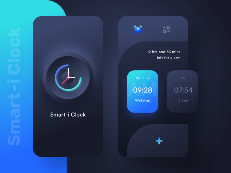 Smart-i Clock (Dark mode) design ux ui sketch vector sleep add settings sharma neel prakhar illustrations watch icon morning illustration bell alert alarm clock alarm