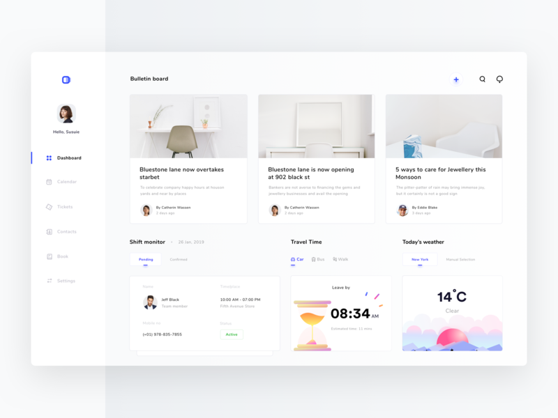 Dashboard for schedule and monitoring platform (version 7) status team gps walk add to cart illustration sun weather notifications search add settings button contacts tickets calendar sharma neel prakhar ui